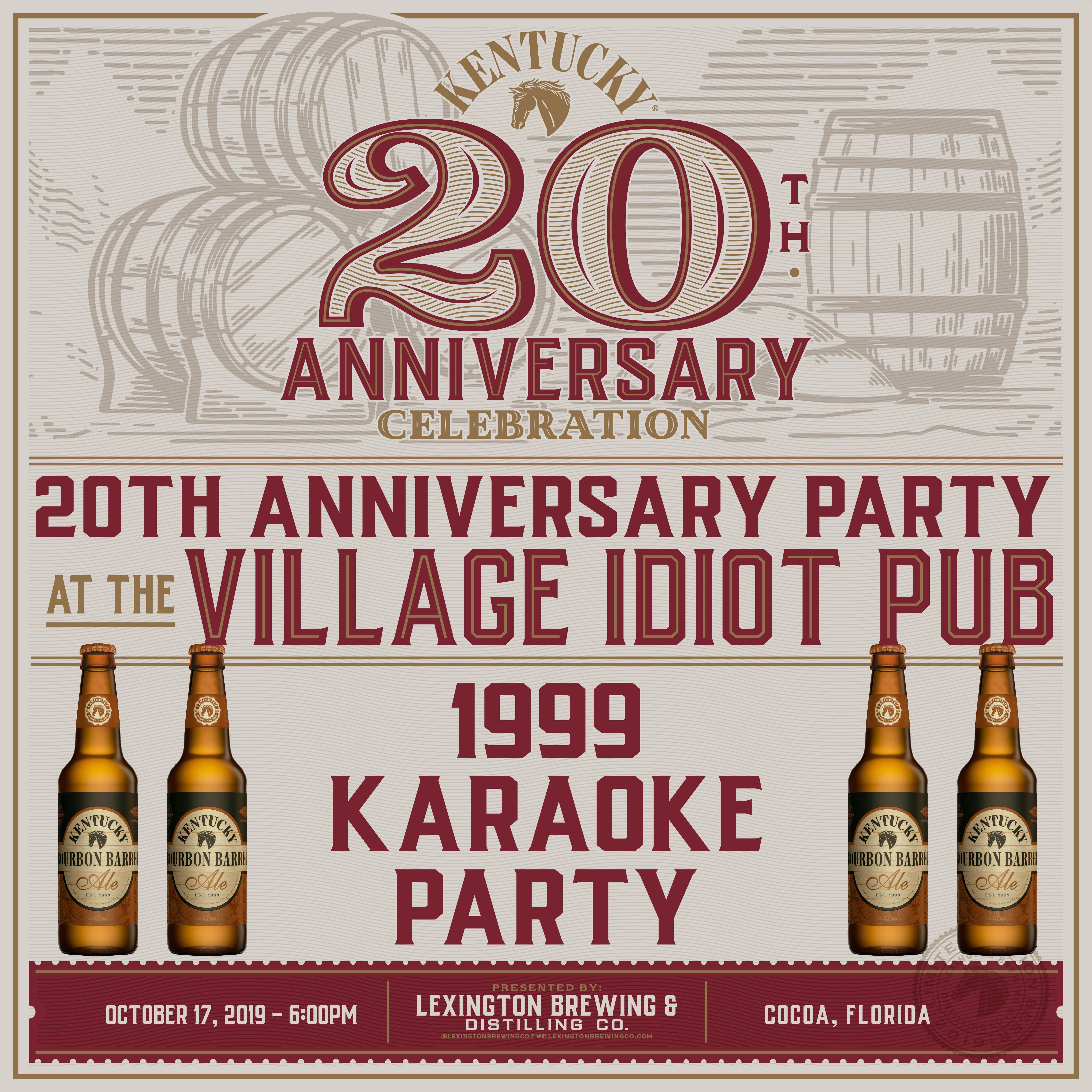 Kentucky Lexington Distillery and Brewing Company 20th Anniversary Party with Karaoke at the Village Idiot Pub