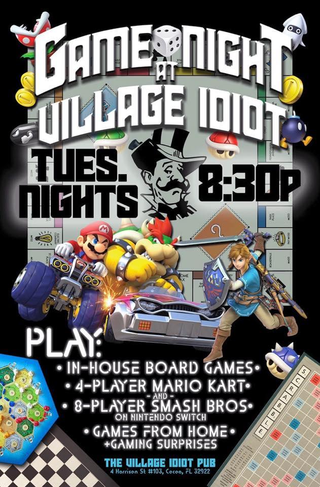 Tuesday Night Game Nights at Village Idiot Pub starting at 8:30pm